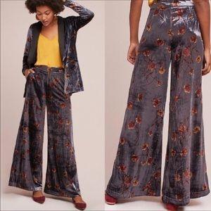 Etta Awa Jessie Velvet Wide Leg Floral Pant